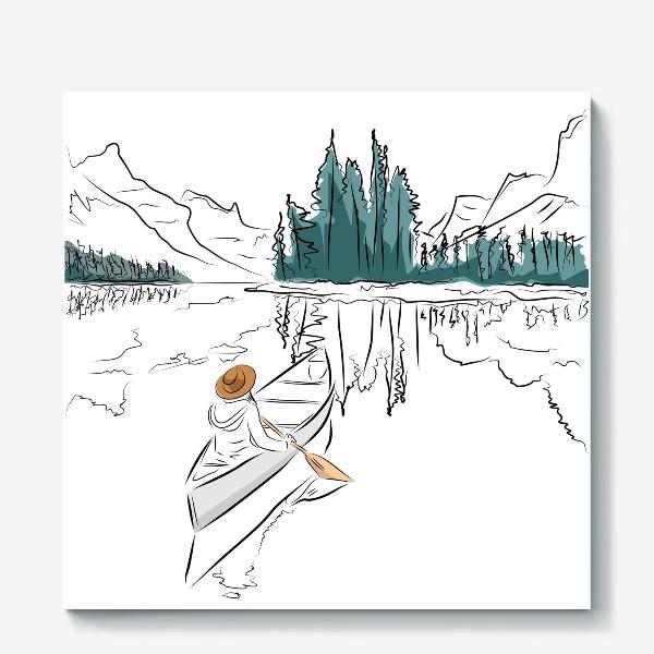 Холст «Девушка в шляпе в лодке каноэ плывет по озеру в горах среди ёлок»