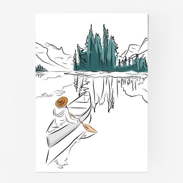 Постер «Девушка в шляпе в лодке каноэ плывет по озеру в горах среди ёлок»