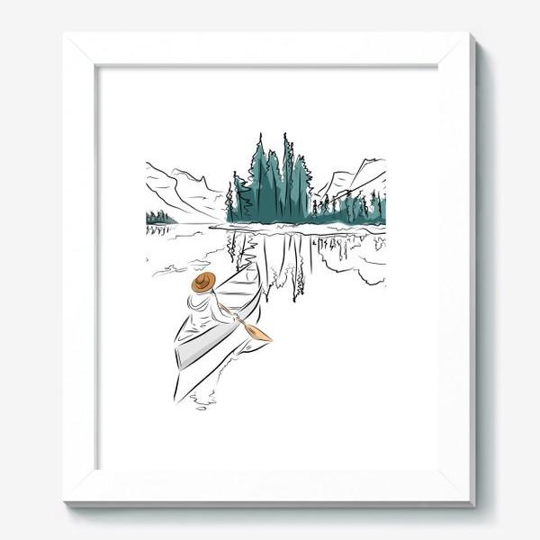 Картина «Девушка в шляпе в лодке каноэ плывет по озеру в горах среди ёлок»