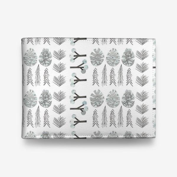 Кошелек «Зимний лесной паттерн 2 (шишки, елки, ветки)»