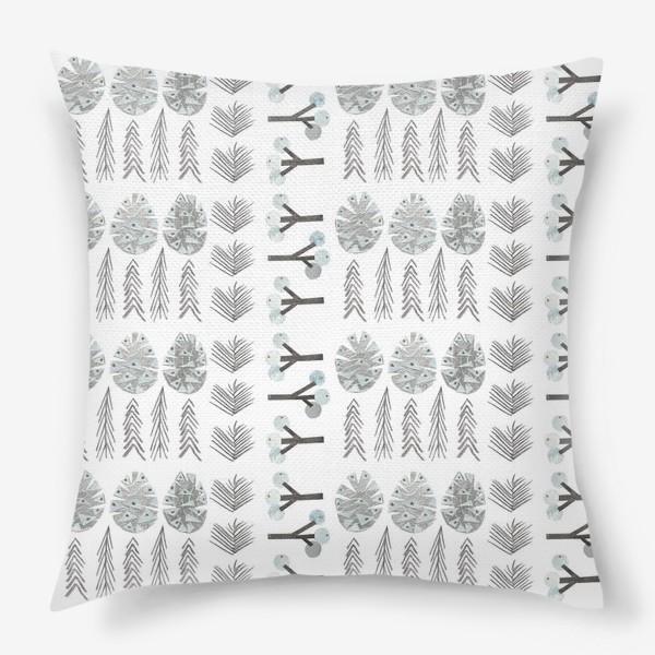 Подушка «Зимний лесной паттерн 2 (шишки, елки, ветки)»