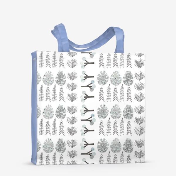 Сумка-шоппер «Зимний лесной паттерн 2 (шишки, елки, ветки)»