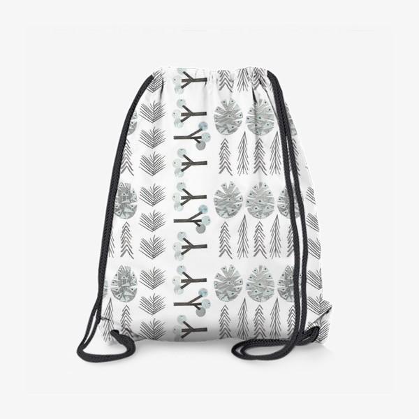 Рюкзак «Зимний лесной паттерн 2 (шишки, елки, ветки)»