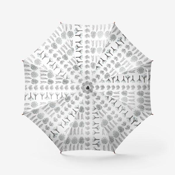 Зонт «Зимний лесной паттерн 2 (шишки, елки, ветки)»