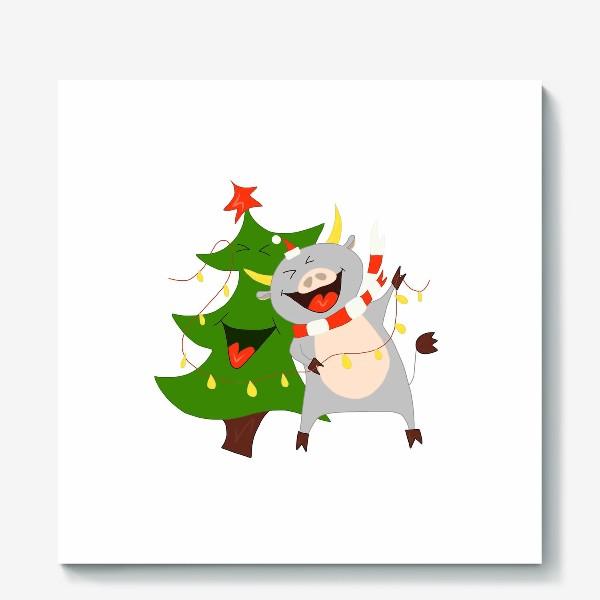 Холст «Бычок с елкой и гирляндой Символ 2021 года Рождество»