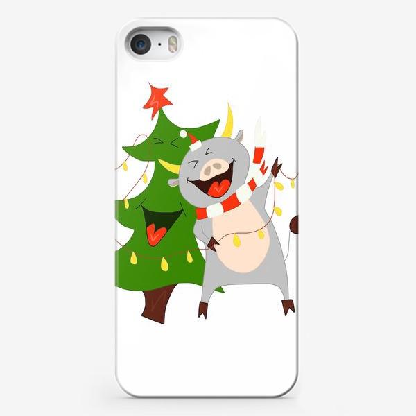 Чехол iPhone «Бычок с елкой и гирляндой Символ 2021 года Рождество»