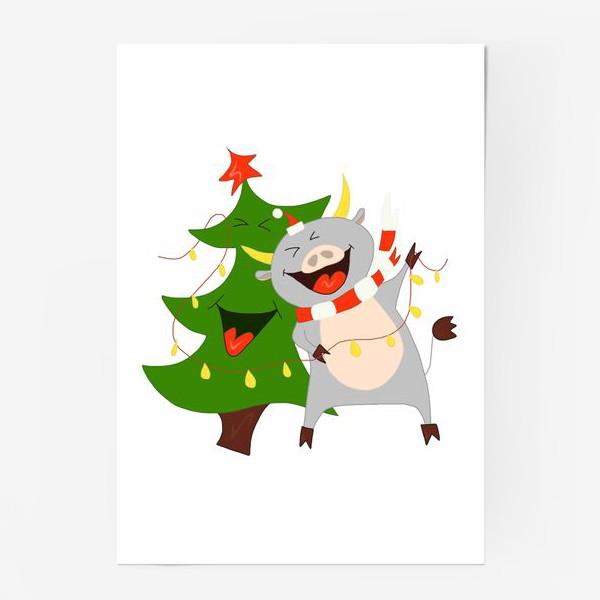 Постер «Бычок с елкой и гирляндой Символ 2021 года Рождество»