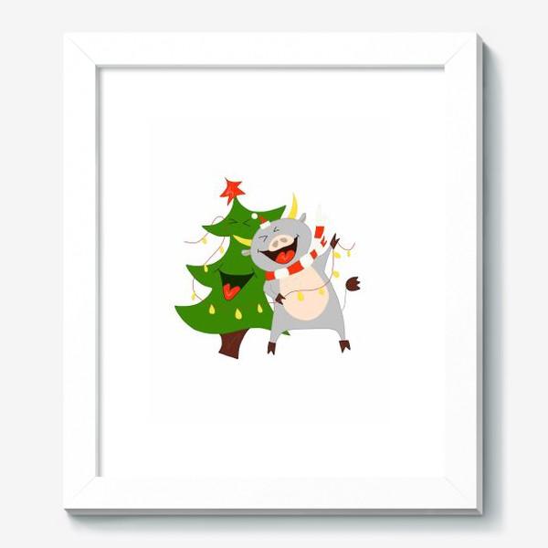 Картина «Бычок с елкой и гирляндой Символ 2021 года Рождество»