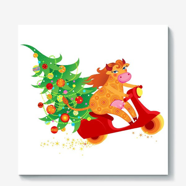 Холст « Веселая рыжая корова на красном скутере. Год Быка 2021»