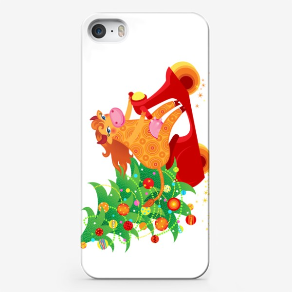 Чехол iPhone « Веселая рыжая корова на красном скутере. Год Быка 2021»