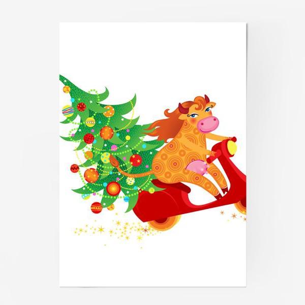Постер « Веселая рыжая корова на красном скутере. Год Быка 2021»