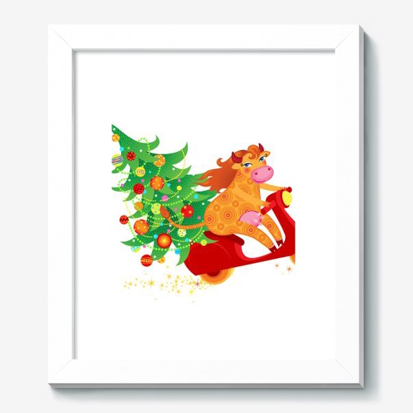 Картина « Веселая рыжая корова на красном скутере. Год Быка 2021»