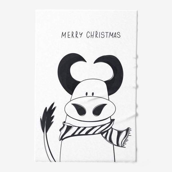 Полотенце «Черный контур бык к Новому году с надписью Счастливого Рождества»