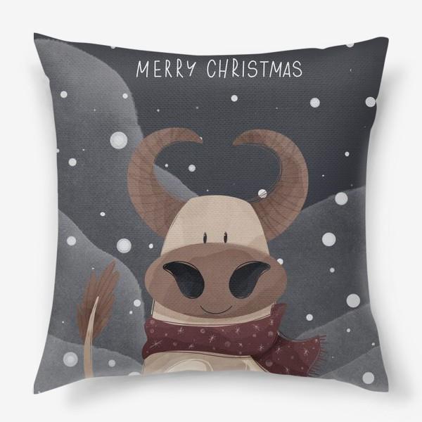Подушка «Милый бык к Новому году в шарфе и надписью счастливого Рождества»