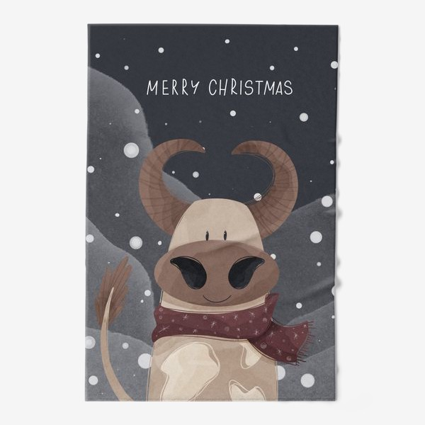 Полотенце «Милый бык к Новому году в шарфе и надписью счастливого Рождества»