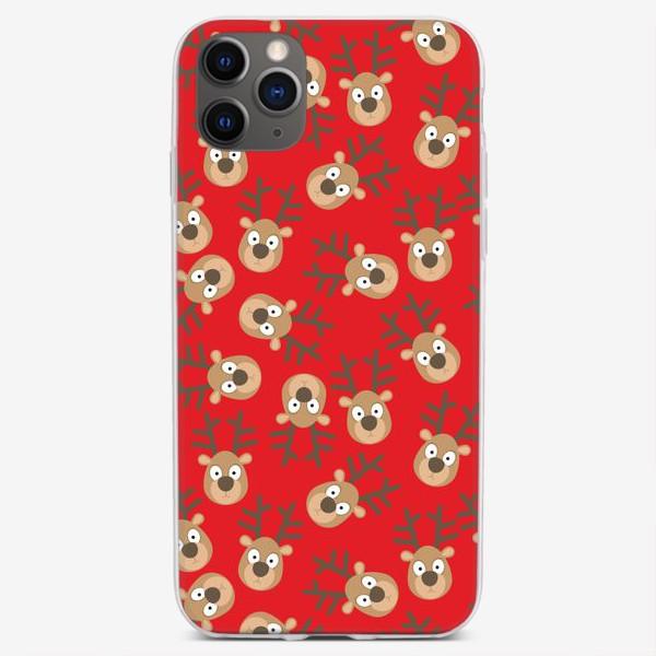 Чехол iPhone «Рождественские олени на красном»