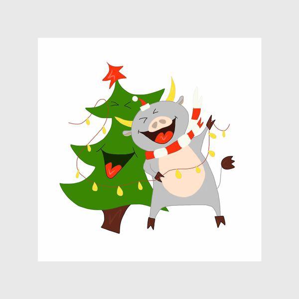 Шторы «Бычок с елкой и гирляндой Символ 2021 года Рождество»