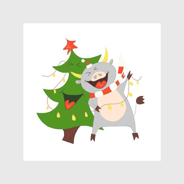 Скатерть «Бычок с елкой и гирляндой Символ 2021 года Рождество»