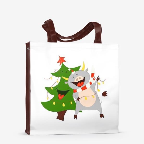 Сумка-шоппер «Бычок с елкой и гирляндой Символ 2021 года Рождество»