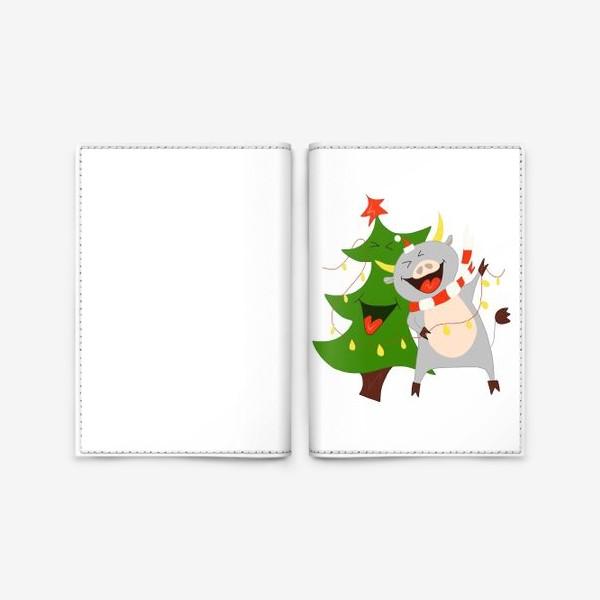 Обложка для паспорта «Бычок с елкой и гирляндой Символ 2021 года Рождество»