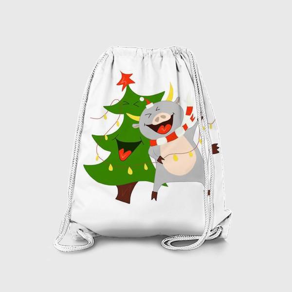 Рюкзак «Бычок с елкой и гирляндой Символ 2021 года Рождество»