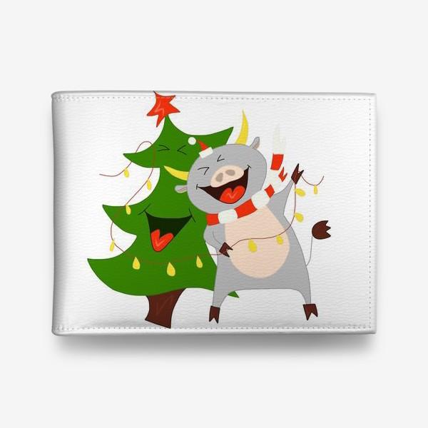 Кошелек «Бычок с елкой и гирляндой Символ 2021 года Рождество»
