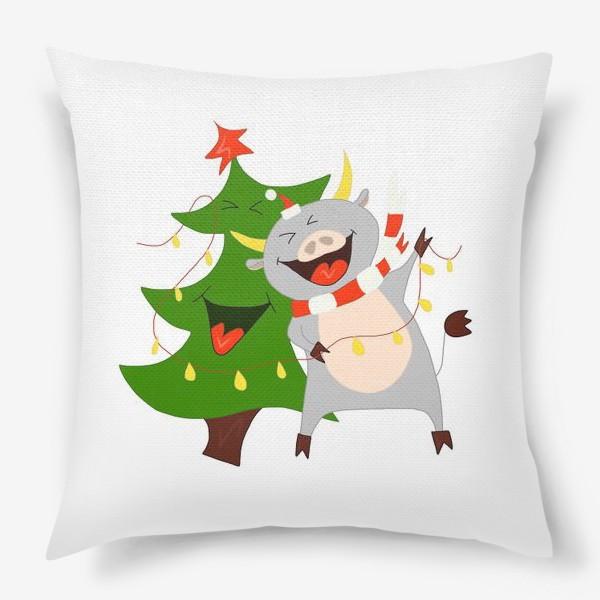 Подушка «Бычок с елкой и гирляндой Символ 2021 года Рождество»