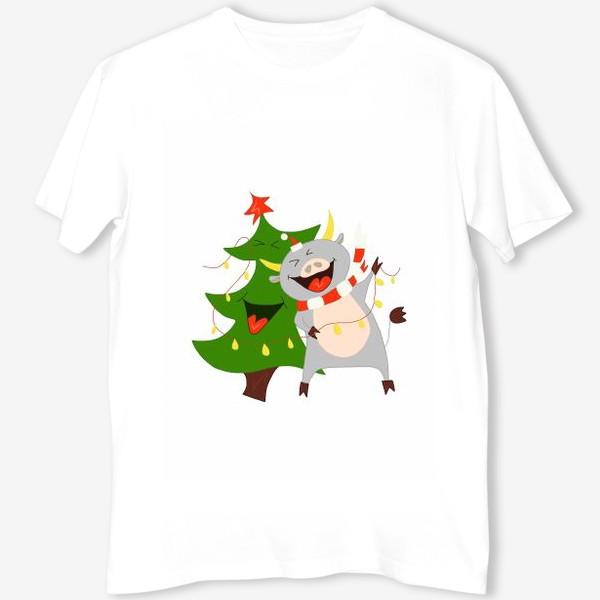 Футболка «Бычок с елкой и гирляндой Символ 2021 года Рождество»