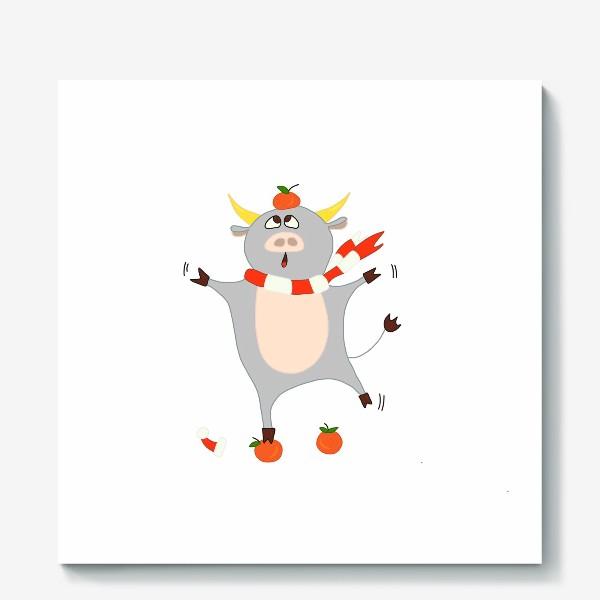 Холст «Бык с мандаринами Символ нового 2021 года Рождество»