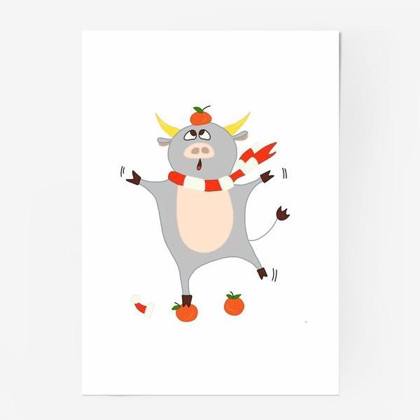 Постер «Бык с мандаринами Символ нового 2021 года Рождество»