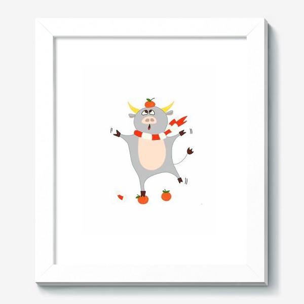 Картина «Бык с мандаринами Символ нового 2021 года Рождество»