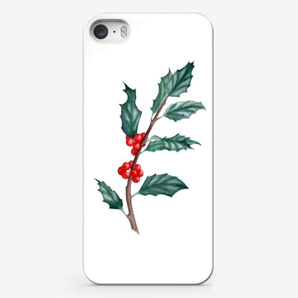 Чехол iPhone «Ветка остролиста ботаническая иллюстрация акварель»