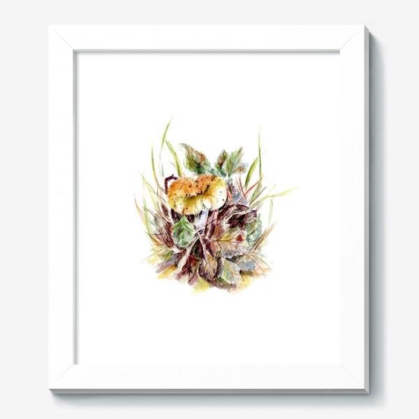 Картина «Гриб и листья осенняя ботаническая иллюстрация акварель»