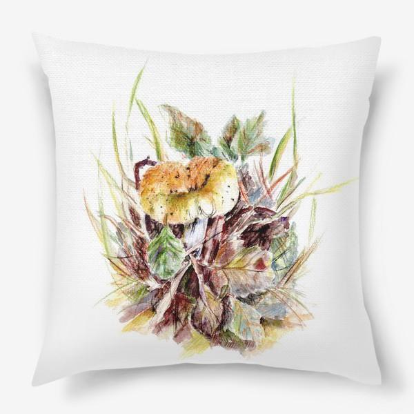 Подушка «Гриб и листья осенняя ботаническая иллюстрация акварель»