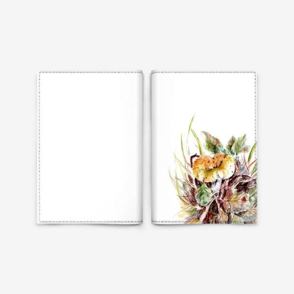 Обложка для паспорта «Гриб и листья осенняя ботаническая иллюстрация акварель»