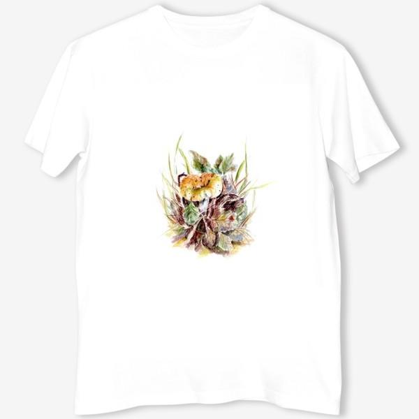Футболка «Гриб и листья осенняя ботаническая иллюстрация акварель»