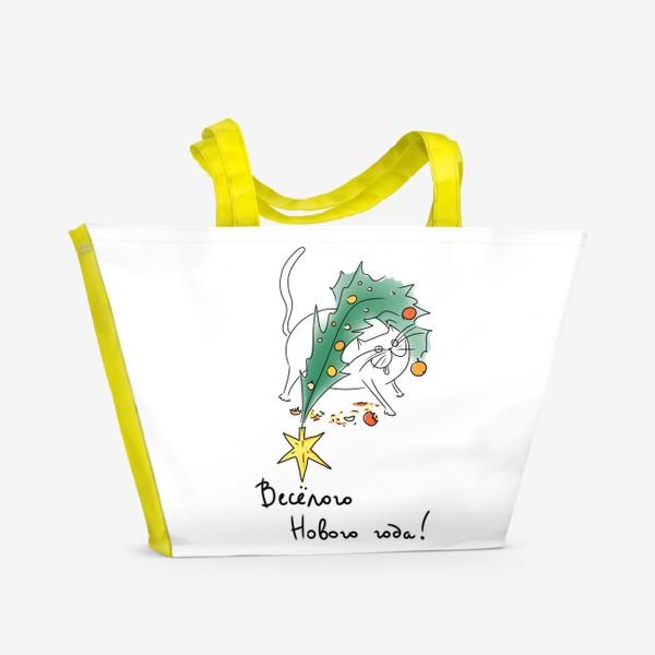 Пляжная сумка «Кот и елка. Веселого нового года! Новогоднее»