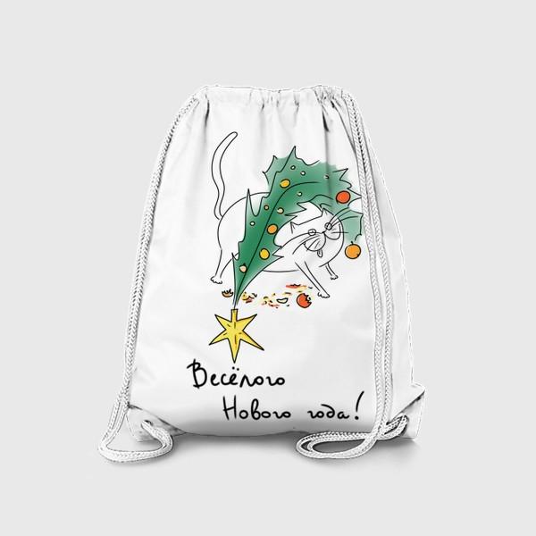 Рюкзак «Кот и елка. Веселого нового года! Новогоднее»
