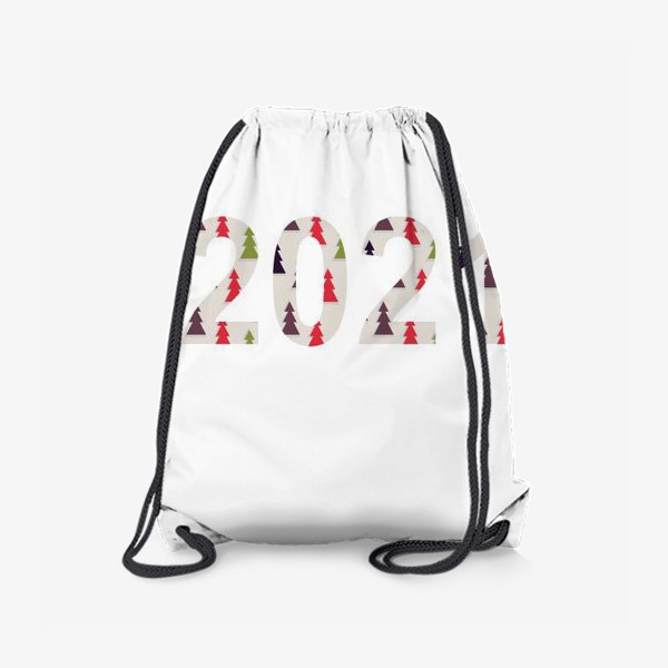 Рюкзак «Цифры 2021 с символами Нового года и Рождества: разноцветные треугольные ёлки»