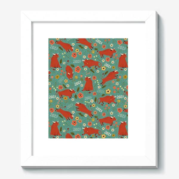 Картина «Милые быки в цветах»