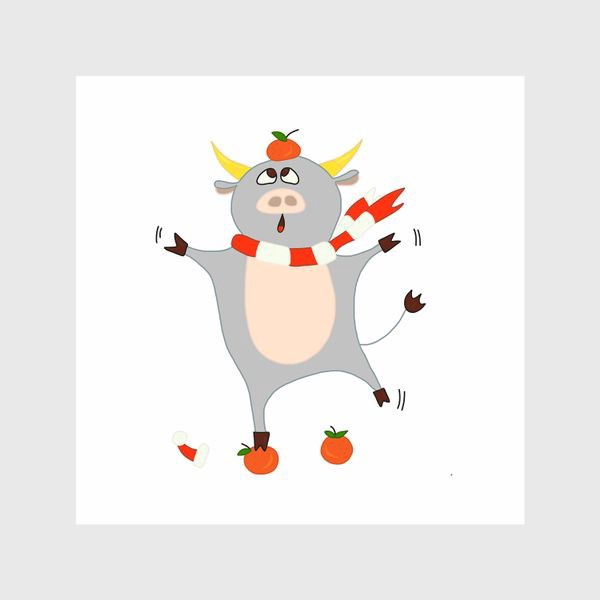 Шторы «Бык с мандаринами Символ нового 2021 года Рождество»