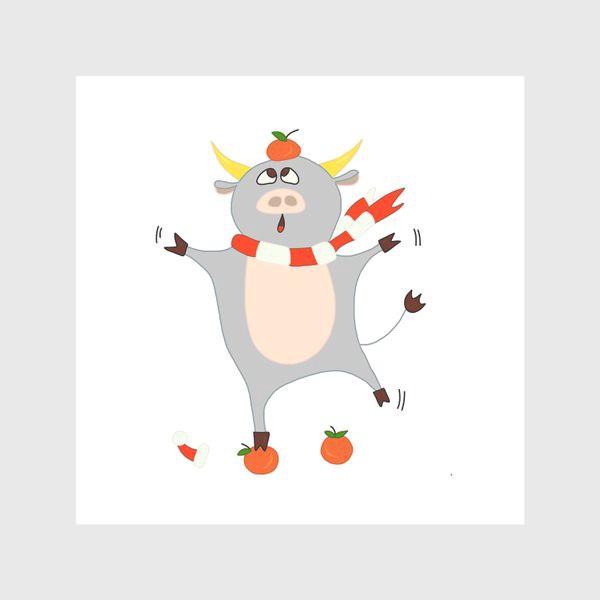 Скатерть «Бык с мандаринами Символ нового 2021 года Рождество»