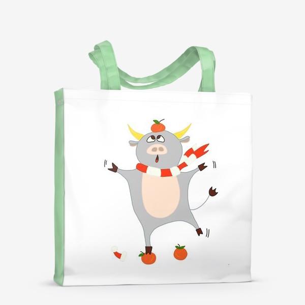 Сумка-шоппер «Бык с мандаринами Символ нового 2021 года Рождество»