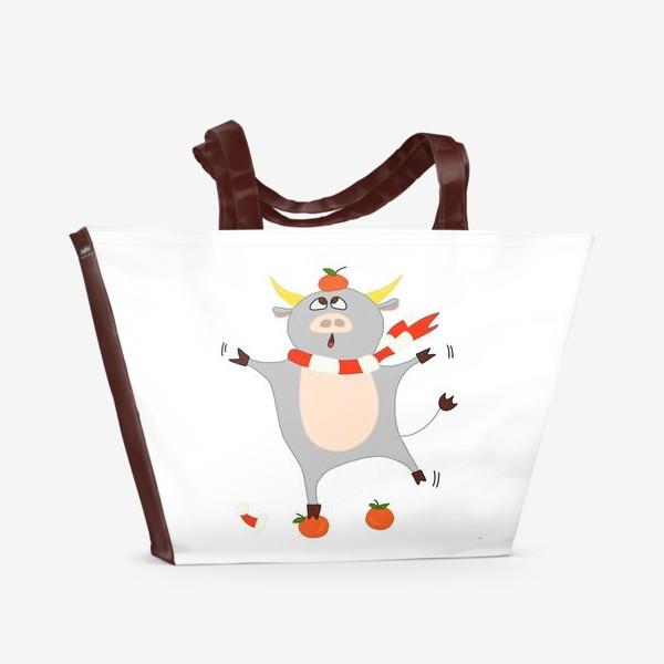 Пляжная сумка «Бык с мандаринами Символ нового 2021 года Рождество»