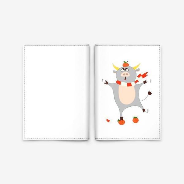 Обложка для паспорта «Бык с мандаринами Символ нового 2021 года Рождество»