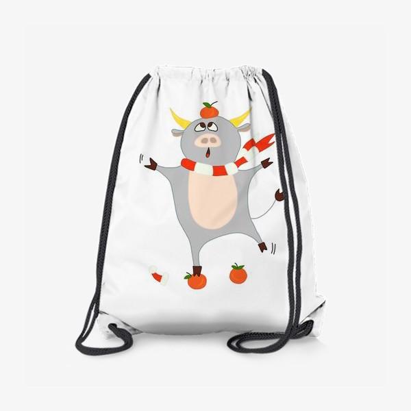 Рюкзак «Бык с мандаринами Символ нового 2021 года Рождество»