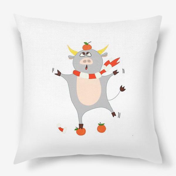 Подушка «Бык с мандаринами Символ нового 2021 года Рождество»