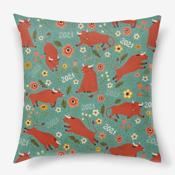 Подушка «Милые быки в цветах»