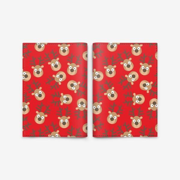 Обложка для паспорта «Рождественские олени на красном»