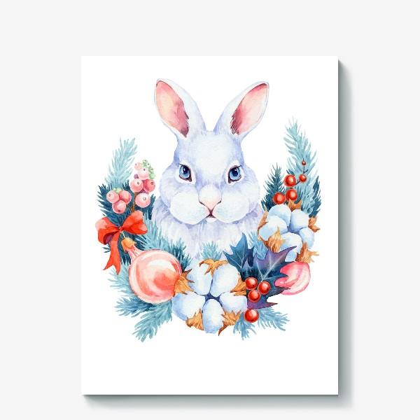Холст «Новогодний кролик»